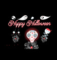 skull and ghost and fire for halloween vector image vector image