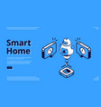 smart home isometric web banner ai robot iot vector image vector image