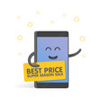 smartphone concept announcing sales and discounts vector image vector image