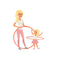 sporty mother and her cute daughter with hula-hoop vector image vector image