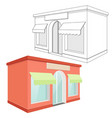 store front red 3d building and outline drawing vector image vector image