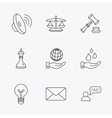 Strategy auction and scales of justice icons vector image vector image