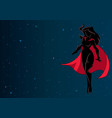 superheroine flying in space silhouette vector image vector image
