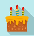 sweet cake icon flat style vector image vector image
