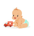sweet happy baby sitting and playing with toy car vector image vector image