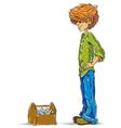 Teen boy cartoon with toolbox vector image