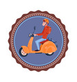 template vintage logo with young man riding retro vector image