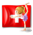 The flag of Switzerland and the young ballet vector image vector image
