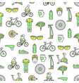 thin line art bicycle seamless pattern vector image