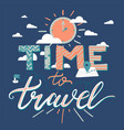 time to travel lettering vector image vector image