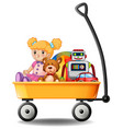 toys in yellow wagon vector image vector image