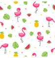 tropical colorful flamingo seamless pattern with vector image