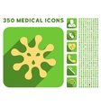Virus Icon and Medical Longshadow Icon Set vector image vector image