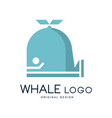 whale logo original design badge can be used for vector image vector image