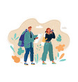 young couple with travel bag and map traveling vector image vector image