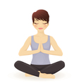 Young woman practicing yoga in lotus pose vector image