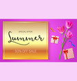 summer sale advertisement poster on a gold vector image