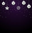 Christmas Dark Background with Silver Baubles vector image