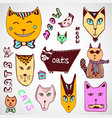 doodle cats collection hand drawn coloring page vector image