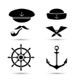 nautical icons captain and sailor sea set vector image