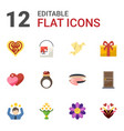 12 decoration flat icons set isolated on white vector image vector image
