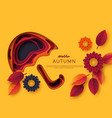 autumn 3d paper cut umbrella with leaves vector image vector image