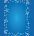 blue background with frame of snowflakes vector image vector image