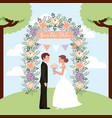 bride with bouquet and groom in arch flowers save vector image vector image