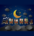 children in fancy dress sitting on the train vector image