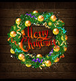 christmas wreath of fir branches vector image