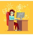 Creative girl work at home office with computer vector image
