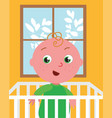 cute baby in bed vector image vector image