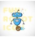 Cute Fun Robot Outline Flat Style vector image vector image