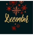 December Black Background Hand Drawn Calligraphy vector image vector image