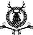 Druid symbol with antlers in Celtic circle vector image vector image