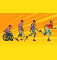evolution rehabilitation african man leg vector image vector image