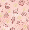 Funny seamless pattern with ice cream coffee cake vector image