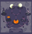 halloween color isometric concept icons vector image vector image