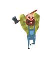 happy bearded lumberjack working with axe cartoon vector image vector image
