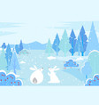 hares surrounded snowy trees and bushes forest vector image