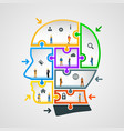 head of puzzles with workers vector image vector image