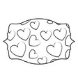 hearts inside label emblem sketch vector image