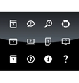 Help and FAQ icons on black background vector image vector image