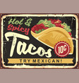 hot and spicy mexican tacos vector image vector image