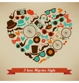I Love Hipster Style Icon Set vector image