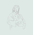 Jesus with sheep vector image vector image