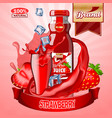 juice strawberry ads with logo and label vector image vector image