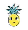 kawaii cute sad pineapple vegetable vector image vector image
