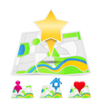 Maps with map markers vector image vector image