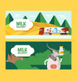 milk and dairy products delivery farm food banner vector image vector image